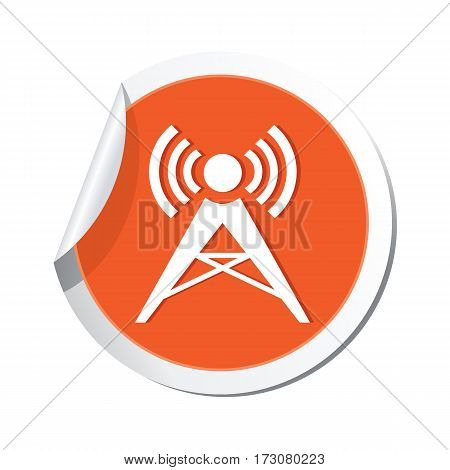 Orange sticker with wireless icon. Vector illustration