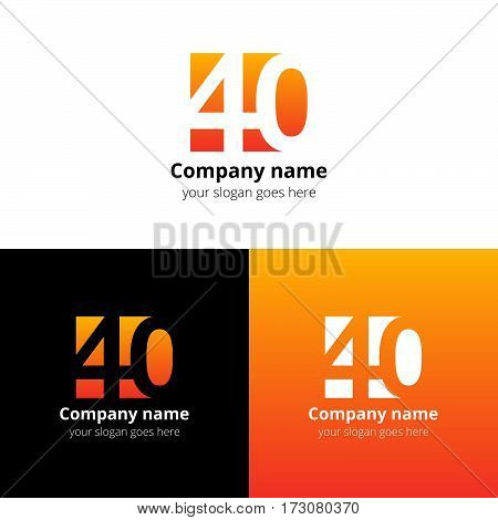 40 logo icon flat and vector design template. Monogram years numbers four and zero. Logotype forty with orange-yellow gradient. Creative vision concept logo, elements, sign, symbol for card,