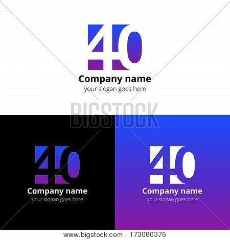 40 logo icon flat and vector design template. Monogram years numbers four and zero. Logotype forty with violet-pink gradient. Creative vision concept logo, elements, sign, symbol for card,