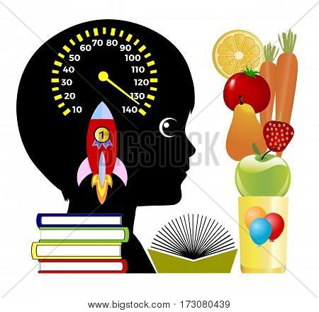 Brain Boosting Smoothies. Natural Energy Drink with Fruits and Vegetables to improve the academic Performance of young students