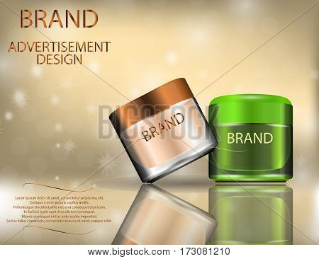 Facial Creams with Aloe Vera and Rose petals for Skin on the sparckling Background Concept Skin Care Cosmetic. Mock-ups of cream jars. Blank template of packaging for cosmetic product.