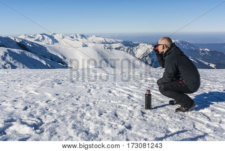 Tourists Drink Hot Tea In The Mountains.