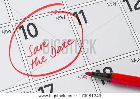 Save The Date Written On A Calendar - May 10