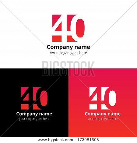 40 logo icon flat and vector design template. Monogram years numbers four and zero. Logotype forty with red-pink gradient. Creative vision concept logo, elements, sign, symbol for card,