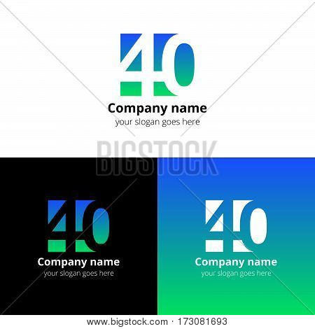 40 logo icon flat and vector design template. Monogram years numbers four and zero. Logotype forty with blue-green gradient. Creative vision concept logo, elements, sign, symbol for card,