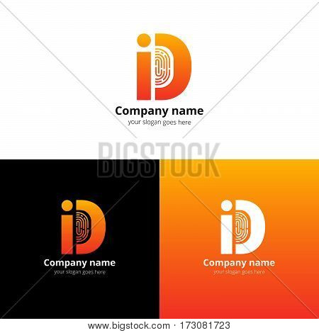 ID vector logo with Fingerprint template. The orange letter i and d with fingerprint icon. Logotype design for personal identification company or service. Personalization logo. Sign of identification