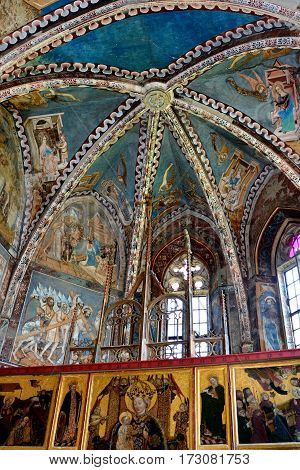Unusual icons in the fortified medieval church in the village Malancrav. Here some of the most significant Gothic murals in Transylvania.