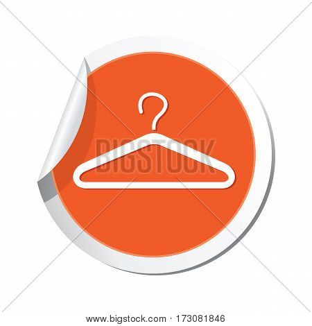 Orange sticker with hanger icon. Vector illustration
