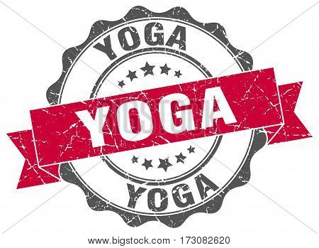 Yoga. Stamp. Sign. Seal. Round. Retro. Ribbon