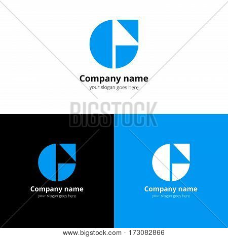 Letter G logo. G icon flat and vector design template. Trend blue color on white and black background. Symbol G in vector elements.