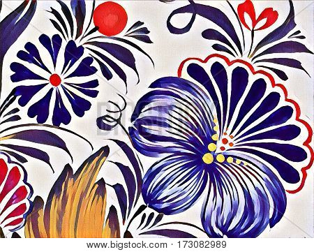 Beautiful Colorful Painting Flower With Leaves. Traditional Ukrainian Painting.