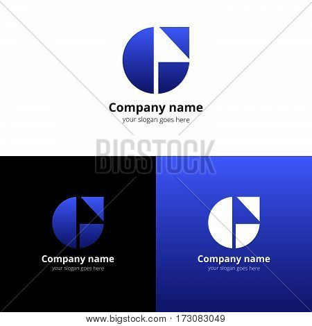 Letter G logo. G icon flat and vector design template. Trend blue-dark gradient color on white and black background. Symbol G in vector elements.