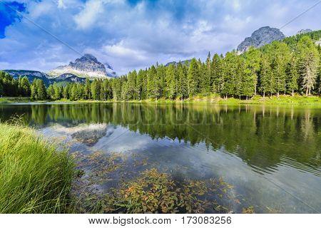 Tre Cime di Laverado, Drei Zinnen, view from Lago Antorno, Misurina. Dolomites Mountains, Italy.