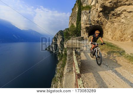 Mountain biking on Lake Garda, Sentiero della Ponale, Riva del Garda, Italy