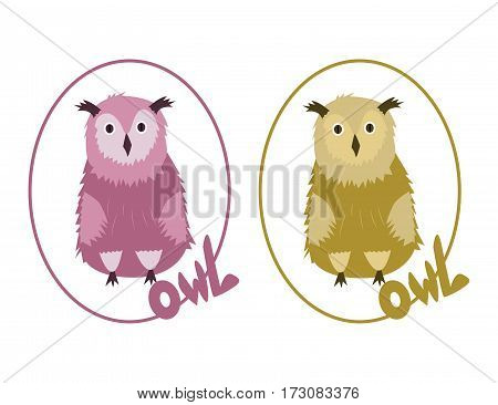 Two Owls on the white background. Hand drawn illustration. Vector.