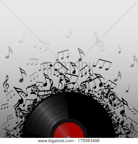 Illustration of vinyl record with music notes with space for text. Vector element for presentations covers and your creativity