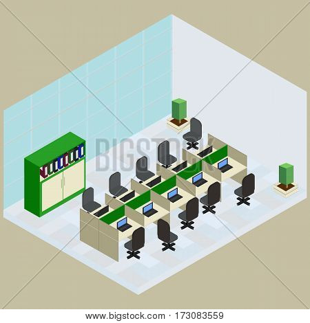 Isometric work place with set of objects table computer bookshelves armchair folder in vector
