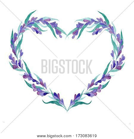 Watercolor vector lavender wreath in gentle style for wedding decor and design