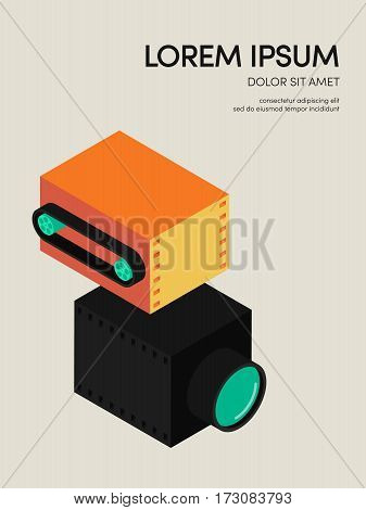Movie and film modern vintage retro poster background isometric shape design element can be used for template backdrop leaflet flyer vector illustration