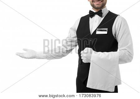 Handsome waiter with towel on white background, closeup