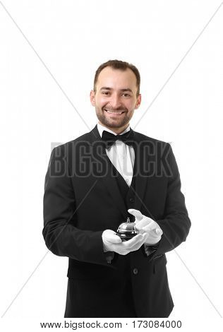 Waiter with bell on white background