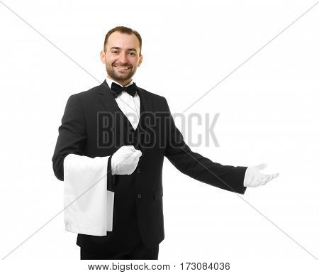 Handsome waiter with towel on white background