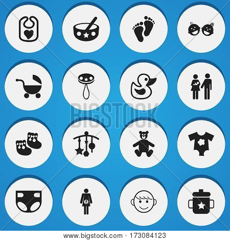Set Of 16 Editable  Icons. Includes Symbols Such As Bath Toys, Footmark, Nappy And More. Can Be Used For Web, Mobile, UI And Infographic Design.