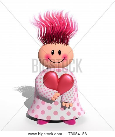 A 3d computer generated happy character holding a love heart shape.