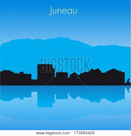 Juneau USA Vector detailed skyline with reflexion