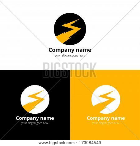 Lightning bold, thunder bolt, zipper, lighting strike expertise vector logo, icon design template. Logotype lightning in circle with yellow color on white background.