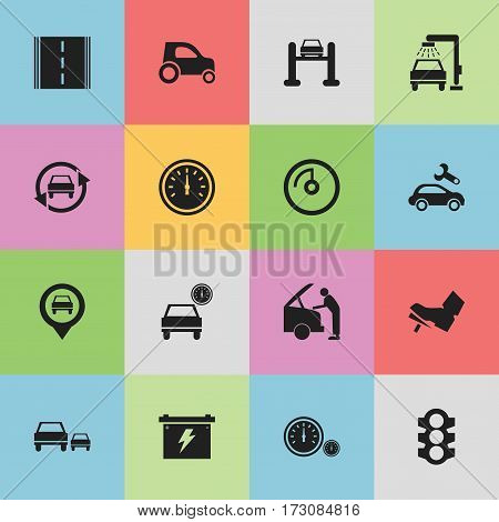 Set Of 16 Editable Car Icons. Includes Symbols Such As Vehicle Car, Automobile, Stoplight And More. Can Be Used For Web, Mobile, UI And Infographic Design.