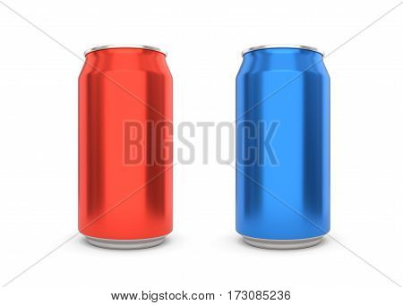 Blank aluminum soda cans on white background. 3D illustration