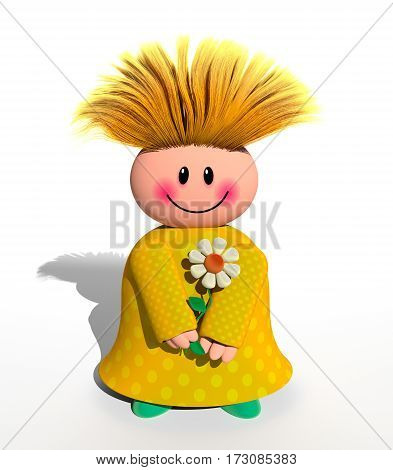 A 3d computer generated happy character holding a daisy flower.