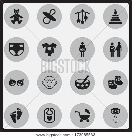 Set Of 16 Editable Baby Icons. Includes Symbols Such As Adorn, Nappy, Rattle And More. Can Be Used For Web, Mobile, UI And Infographic Design.