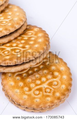 Chocolate Biscuits Isolated Over White Background With Copy Spac