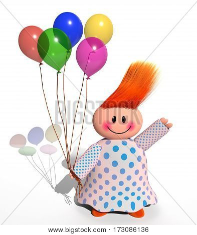A 3d computer generated happy character holding a bunch of party balloons.