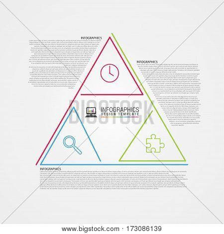 Clean design. Infographic template. Triangle style. Vector illustration