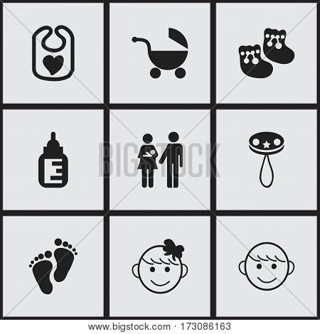 Set Of 9 Editable  Icons. Includes Symbols Such As Stroller, Shoes For Babies, Nursing Bottle And More. Can Be Used For Web, Mobile, UI And Infographic Design.
