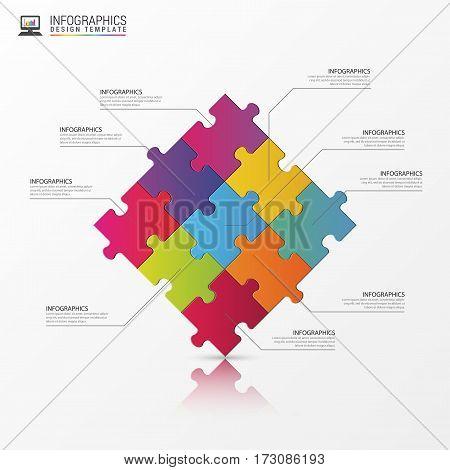 Puzzle piece infographics business concept. Vector illustration