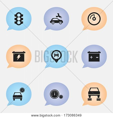 Set Of 9 Editable Car Icons. Includes Symbols Such As Automobile, Speedometer, Stoplight And More. Can Be Used For Web, Mobile, UI And Infographic Design.