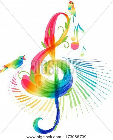 Art treble clef and keyboard instrument with notes and birds