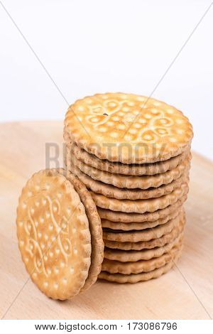Stacked Chocolate Biscuits With Copy Space