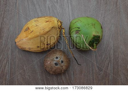 three different coconuts on table horizontal top view