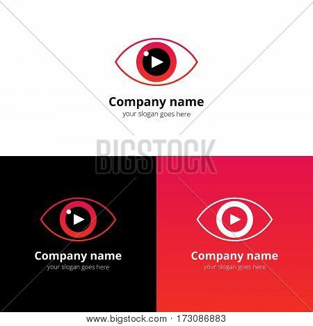 Eye video logo vector with play music button. Film, cinema, sound button with colorful red-pink gradient color logotype template. Media creative Vision technology for service.
