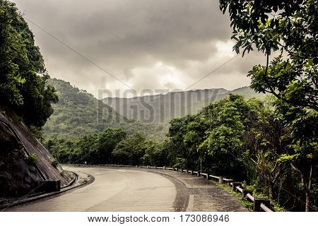 Rain Falling On A Road In The Jungle