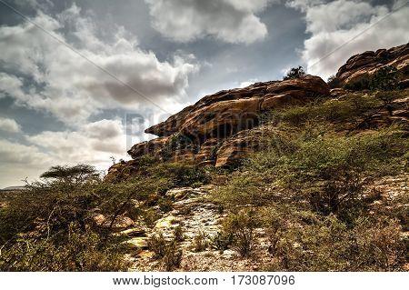 Cave paintings Laas Geel rock exterior near Hargeisa Somalia