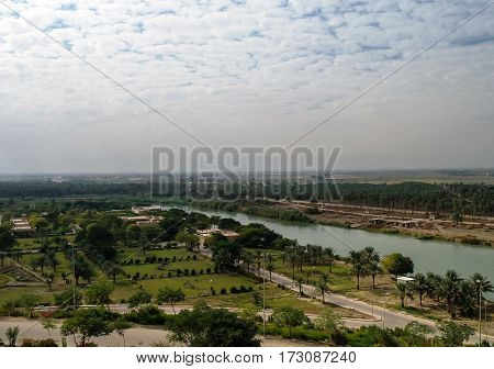 View to Euphrates river from former Saddam Hussein palace Hillah Babyl Iraq