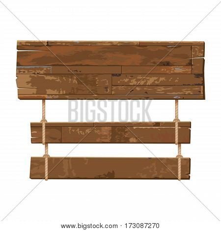 vector old weathered wooden sign hanging on a rope isolated background