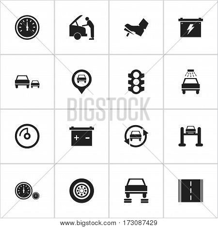 Set Of 16 Editable Vehicle Icons. Includes Symbols Such As Auto Service, Stoplight, Accumulator And More. Can Be Used For Web, Mobile, UI And Infographic Design.