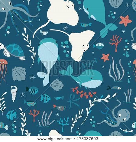 Seamless pattern with underwater ocean animals whale octopus stingray jellysfish colorful vector illustration